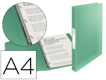 Carpeta Esselte 4 anillas 25 mm Din A4 colour ice 626248 , verde