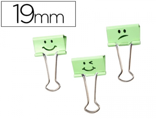 Pinza de metal Rapesco reversible 19 mm sonrisas verde cajita 1423