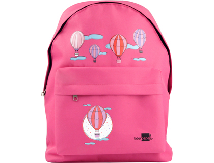 Cartera escolar Liderpapel mochila globos color rosa 380x280x120mm 06157