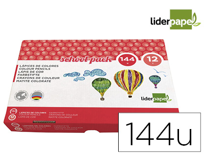 Lapices de colores Liderpapel school pack de 144 unidades 12 06183