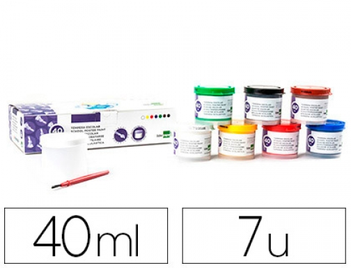 Tempera Liderpapel escolar 40 ml 7 colores surtidos + pincel 62924