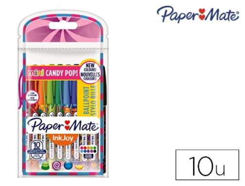Boligrafo paper mate inkjoy 100 candy pop blister de 10 Papermate 2022692 , surtidos