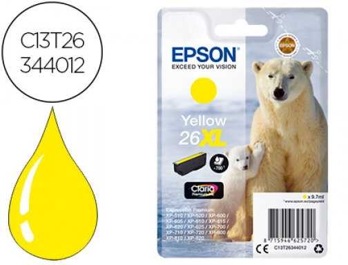 Ink-jet Epson 26xl xp-600 605 700 800 amarillo 700 pag C13T26344012
