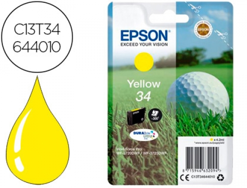 Ink-jet Epson 34 workforce pro wf-3720 wf-3720dwf wf-3725dwf amarillo 300 C13T34644010