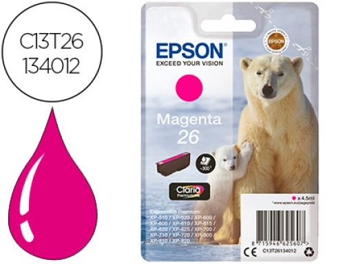 Ink-jet Epson t26 xp-600 605 700 800 magenta 300 pag C13T26134012