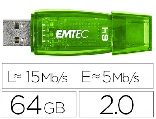 Memoria usb Emtec flash c410 64 gb 2.0 verde E141125