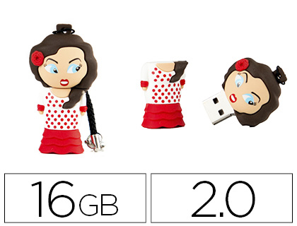 Memoria usb Techonetech flash drive 16 gb 2.0 flamenca sevillana TEC5125-16