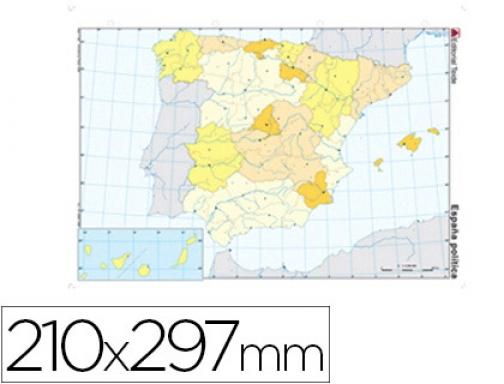 Mapa Fisico De España Para Imprimir En A4.Mapa Mudo Color Din A4 Espana Politico Teide 24588