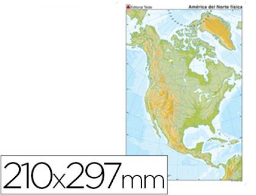 America Del Norte Mapa Fisico Mudo.Mapa Mudo Color Din A4 America Norte Fisico Teide 24593