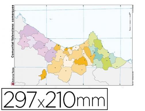 Mapa Mudo Comunidad Valenciana.Mapa Mudo Color Din A4 Comunidad Valenciana Politico Teide 78845