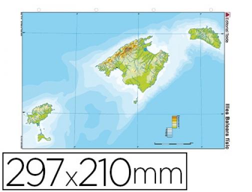 Mapa Mudo Color Din A4 Islas Baleares Fisico Teide 78848