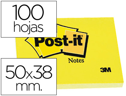 Bloc de notas adhesivas quita y pon Post-it 50x38 mm FT510058488 , amarillo