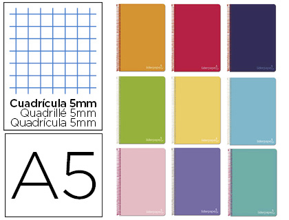 Cuaderno espiral Liderpapel A5 micro witty tapa dura 140h 75gr 09769