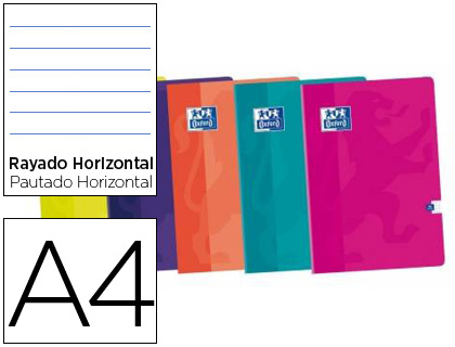Libreta Oxford tapa blanda Din A4 48 h horizontal colores 400073665