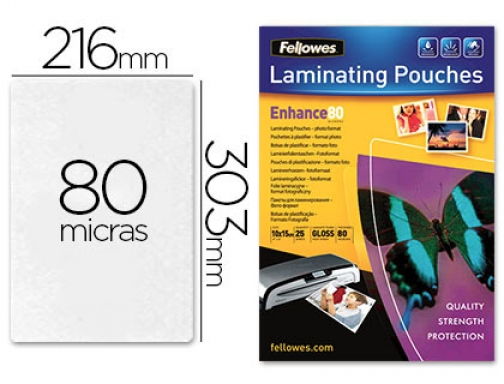 Bolsa de plastificar Fellowes brillo Din A4 80 micras pack 5396205