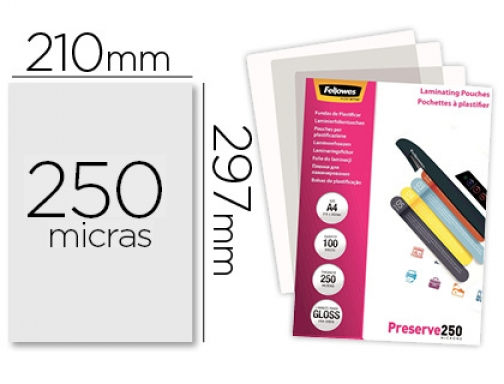 Bolsa de plastificar Fellowes brillo Din A4 250 micras pack 5401802