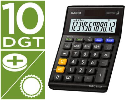 Calculadora Casio MS-120TERII-BK sobremesa 12 digitos tax + - tecla