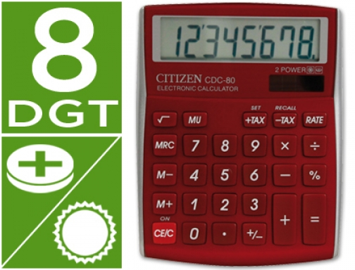 Calculadora Citizen sobremesa cdc-80 8 digitos burdeos CDC-80RDWB