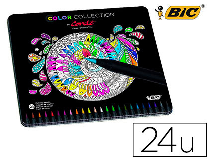 Lapices de colores Bic color collection caja de metal 24 942169