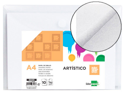 Papel dibujo Liderpapel artistico 210x297mm 130g m2 sin recuadro pack 48186