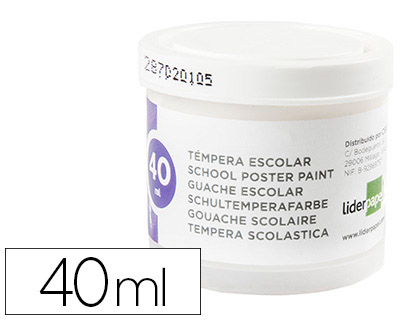 Tempera Liderpapel escolar 40 ml blanco 62931