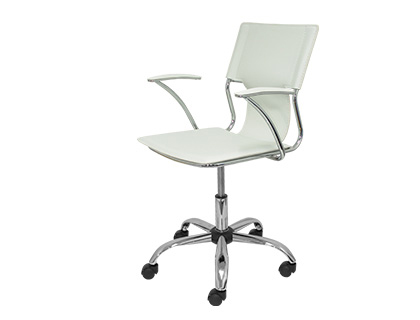 Silla giratoria Q-connect respaldo medio regulable en altura similpiel blanca KF11258 , blanco