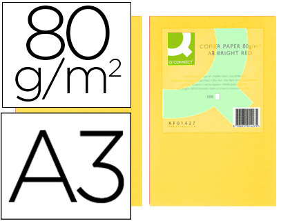 Papel color Q-connect Din A3 80gr amarillo paquete de 500 KF18006