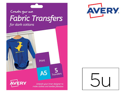 Papel transfer Avery para camisetas algodon colores oscuros ink-jet Din HTT02 , blanco