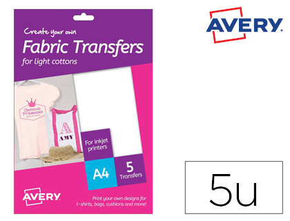 Papel transfer Avery para camisetas algodon colores oscuros ink-jet Din MD1003 , blanco